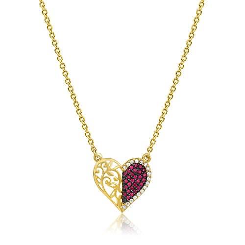 aion Collier Massiv Gold 585 Gold Kette mit Anhänger Herz Gelbgold Rotgold 14K Halskette 45-50 cm (14 Karat (585) Gelbgold)