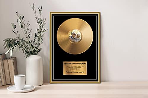 Oedim Regalo Original Placa Metacrilato Disco de Oro Personalizado, Fabricado en Metacrilato 4mm, 31x45cm, Efecto Espejo, Sin Apoyo