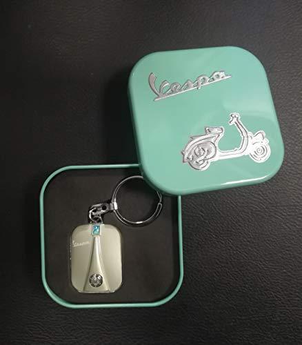 Schlüsselanhänger Vespa Beinschild in Metallbox/grün