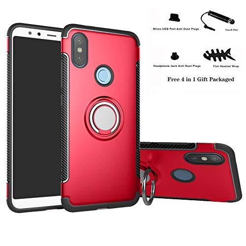 Labanema Redmi Note 6 Pro Funda, 360 Rotating Ring Grip Stand Holder Capa TPU + PC Shockproof Anti-rasguños teléfono Caso protección Cáscara Cover para Xiaomi Redmi Note 6 Pro - Rojo