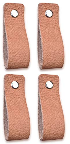 Lederen handgrepen meubels | Natuurlijk – 4 stuks | Lederen handvat voor kasten, keuken en deur | Levering met schroeven in 3 kleuren