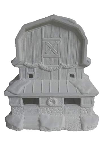 "Reindeer Stable Village Barn 7"" x 8"" x 6"" Ceramic Bisque, Ready to Paint"