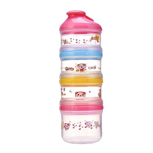 perfeclan 4 Capas Dispensador de Fórmula de Leche en Polvo para Bebés Y Bebés Almacenamiento de Contenedores de Alimentos - Rosado