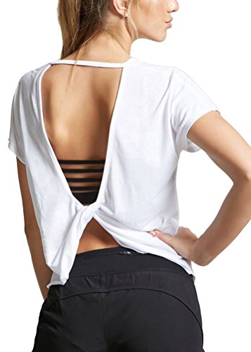 Mippo Workout Tops for Women Open Back Workout Shirts Cute Dance Yoga Tops Backless Summer Clothes Going Out Crop Tops and Blouses for Women 2021 White M