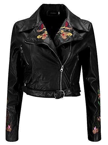 Piel Sintética Cuero del Faux Flor Flores Bordados Asimétrico Wrap Cuello Moto Biker Motorbike Jacket Cazadora Chaqueta Chamarra Corta Corto Top Cremallera Zipper Delantera Negro S