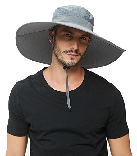 Super Wide Brim Sun Hat-UPF50+ Waterproof Bucket Hat for Fishing, Hiking, Camping (Light Grey)
