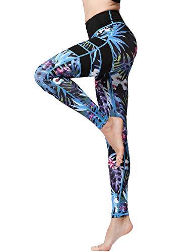 FLYILY Frauen Yoga Pants Gedruckt hohe Taillen-Power Flex Capris Workout Gamaschen für Fitness Laufen(BlackLeaf,XL)