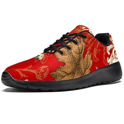 Deporte Zapatillas de correr para mujer rojo chino crisantemo flor de moda zapatillas de deporte de malla transpirable caminar senderismo tenis zapato, color, talla 37.5 EU