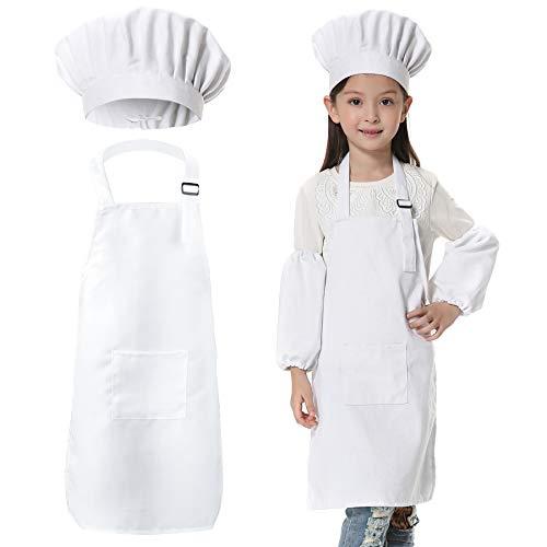 JLySHOP kok kostuum kinderen schorten voor kind - kok schort kinderen, keuken koken bakken dragen die koks in de opleiding, schilderijen, Diy schorten voor jongens meisjes (6-12 jaar)