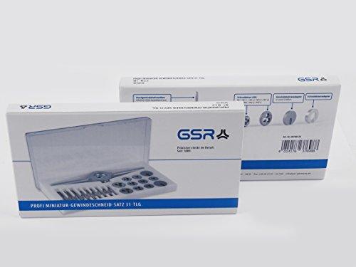 GSR PROFI Miniatur-Gewindeschneidsatz, 31-teilig, Geschwindeschneider Set HSS-G, M1-M2,5 Gewindebohrer & Schneideisen, Schneideisenhalter & Reduzierringe, Ideal für Modellbau