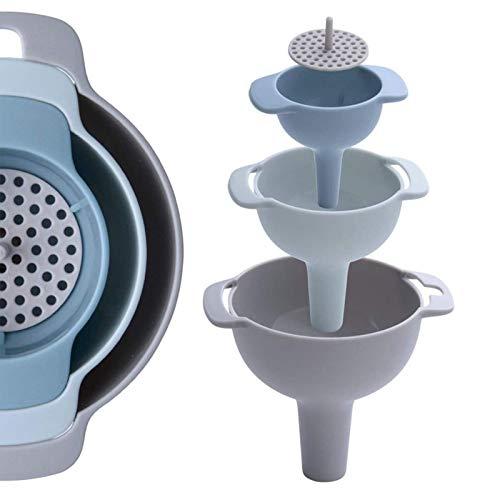 Trichter Set Kunststoff Trichter Mit Griff Trichter Küche Mit Sieb Trichter Set Multifunktional Kunststoff Küchentrichter Für Übertragen Von Flüssigen, Pulverförmigen Und Trockenen Zutaten(4-In-1)