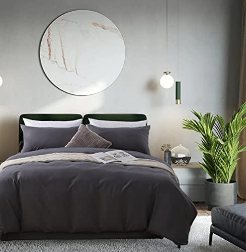 Aisbo - Funda nórdica de 140 x 200 cm, color gris oscuro, juego de cama de microfibra para adulto con cremallera, funda de almohada 65 x 65 cm