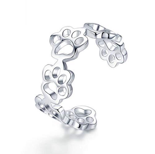 FROGリング 指輪 フリー サイズ 調節可能 925シルバーフットプリントリングリングかわいい誕生日結婚 女性ファッションカップルリング