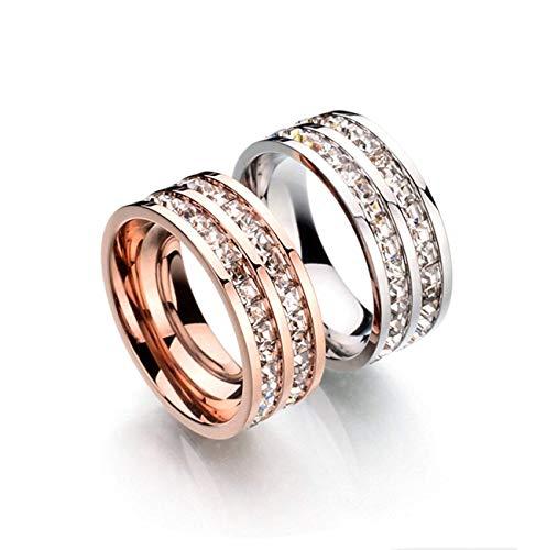 SFK (シフク) ジルコニア リング レディース 婚約 結婚 指輪 幅 3mm シルバー ピンクゴールド ピンキーリング 可愛い (ダブル×シルバー, 8)