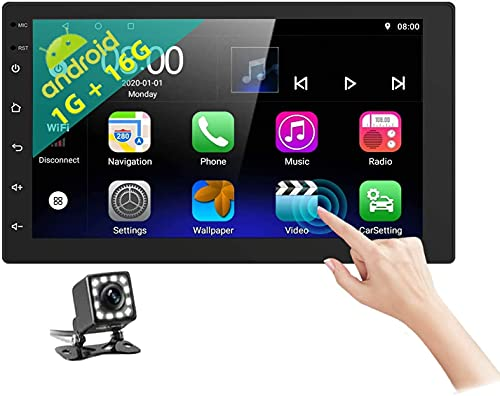 Autoradio Android 2Din - Autoradio mit Bluetooth Freisprecheinrichtung Unterstützung GPS / Geteilter Bildschirm / Mirrorlink / WIFI / FM / SWC / DVR,Autoradio mit Bildschirm 6.8''HD und Ruckfahrkamera