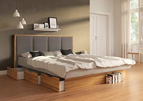 SuMa - Doppel-Wasserbett 200x200 dual mit 6 großen Schubladen im Sockel Wildeiche Eiche und Kopfteil Quaddro, Farbe lightgrey 200x200 cm - 11 Farben wählbar