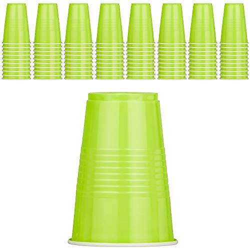 DecorRack 80 Party Cups, 16 oz Plastic Soda Cups, Perfect for Birthday, Picnic, Indoor and Outdoor Event, Stackable, Reusable, Disposable Round Beverage Drinking Cup, Green (Pack of 80)