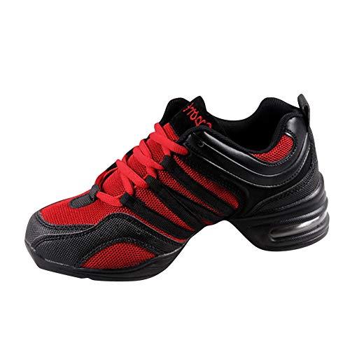 Yudesun Zapatos Aire Libre Deportes Danza Mujer - Mujeres Lona Cordones Suela de Goma Zapatillas Practicidad Running Sneaker Jazz Contemporáneo Baile Informal Rojo (Los Zapatos Son más pequeños)