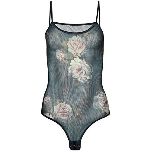 Magi Body de tul para mujer, con tirantes finos, tallas S, M, L, XL y XXL, ajuste óptimo, para mujer, transparente, ropa interior Floral azul petróleo. XL