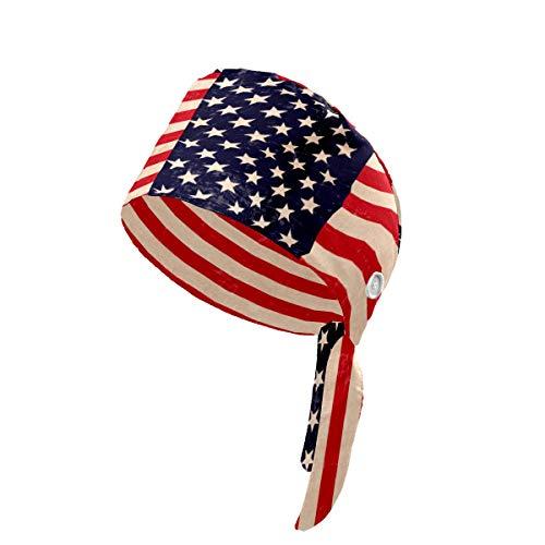 Grunge Gorra de trabajo con bandera patriótica con botón y banda para el sudor, cubre la cabeza ajustable, gorros con lazo hacia atrás, gorro impreso en 3D para mujeres y hombres