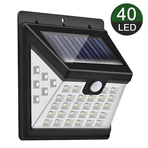 Lámpara de pared solar 40 luces luz de tres lados 28 más 6 más 6 Amazon ráfaga de ráfaga patio lámparas de luz Paquete único