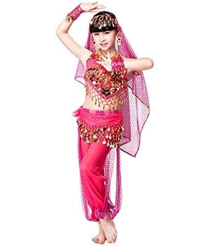 Grouptap Bollywood Indien Baby Mädchen Kinder 4-teilige Prinzessin arabischen Bauchtanz Kleid Kostüm Rosa Top Hosen Gürtel Schleier Phantasie Kind Outfit (Rosa, 90-110 cm)