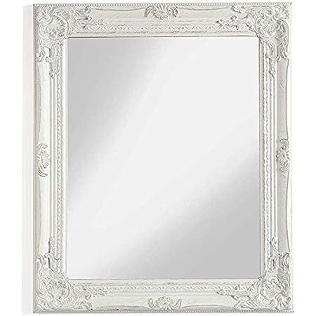 Relaxdays Specchio Vintage Specchio da parete Specchio decorativo Cornice Plastica argento HxL: 39,5 x 39,5 cm