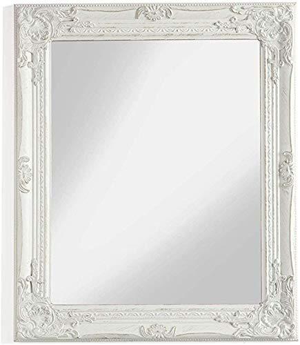 MONTEMAGGI Specchio Rettangolare da Parete con Cornice in Legno Bianco Anticato e Decorato. in Stile Shabby. Dimensioni: 62x4x72 cm