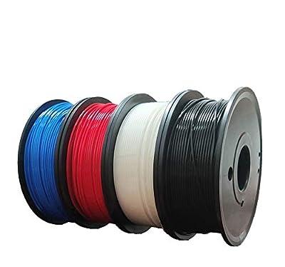 Maths PLA+ 3D Printer Filament 1.75mm (±0.02 mm), 1Kg/2.2lb, 0.25Kg/Spool Independent Vacuum Package. 4 Colors Pack for 3D Printer & 3D Pen-Red, Blue, Black, White.