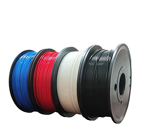 MATHS 2020 Upgrade PLA+ 3D Printer Filament. 4 Spools 4x250g 4 Color Pack for 3D Printer & 3D Pen 1.75mm (±0.02 mm) Multicolor(Red, Blue, Black, White)& Independent Small Vacuum Package.