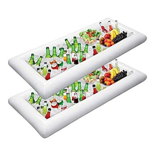 JSJE Aufblasbare Ice Bar, 1/2/3 Packeis Serving Buffet Salat Kühler Essen und Trinken Getränke Behälter mit Ablassschraube, Grill-Picknick-Pool-Party Supplies Inflatable AA