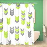 Awowee Decor Duschvorhang, grünes Neon, flaches Pfeil-Muster, graues abstraktes Dreieck-Geometrie, 180 x 180 cm, Polyester, wasserfest, mit Haken für das Badezimmer