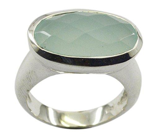 Jewelryonclick Genuine Aqua Chalcedon Handgefertigter Schmuck 925 Sterling Silber Ring Verfügbar In Größe N