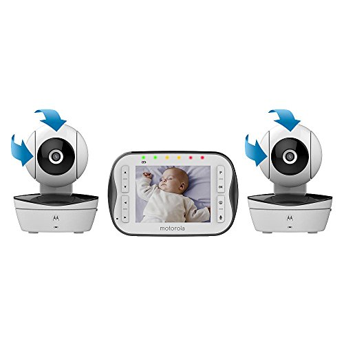 """Motorola Digital Video Baby Monitor MBP41S with Video 2.8 Inch Color Screen, Infrared Night Vision, with Camera Pan, Tilt, and Zoom … (3.5"""" Screen - Two Cameras)"""
