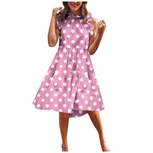 URIBAKY T Shirt Kleid Kurz,Damen Schöne Elegant Casual Minikleider,Kurzarm O-Ausschnitt TunikaKleid Knielang,Gedruckt Sommerkleider Strandkleider