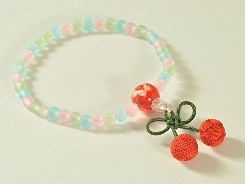亀屋 数珠 子供用数珠 男女兼用 じゅず ミックス仕立て さくらんぼ房 赤色 【日本製】396