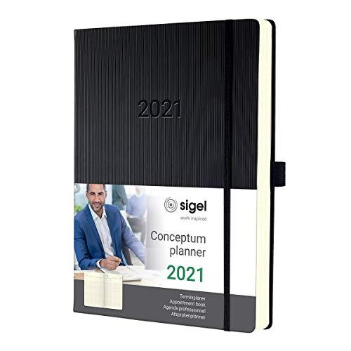SIGEL C2104 Planungsbuch, Terminkalender 2021, A4+, 1 Tag = 1 Seite, für 4 Personen, schwarz, Hardcover Conceptum – weitere Modelle