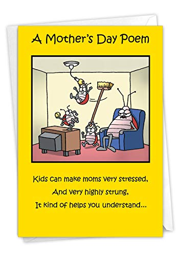 NobleWorks - Happy Mother's Day Card Funny - Cartoon Humor, Mom Greeting Card with Envelope - Moms Day Poem 0045