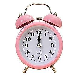 MQH Alarm Clock Portable Alarm Clock Classic Silent Double Bell Alarm Clock Quartz Movement Bedside Night Light for Bedroom