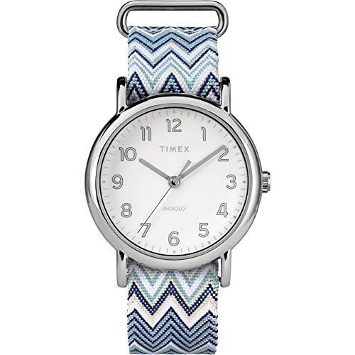 Timex Women's TW2R59200 Weekender 38mm Blue Chevron Fabric Slip-Thru Strap Watch
