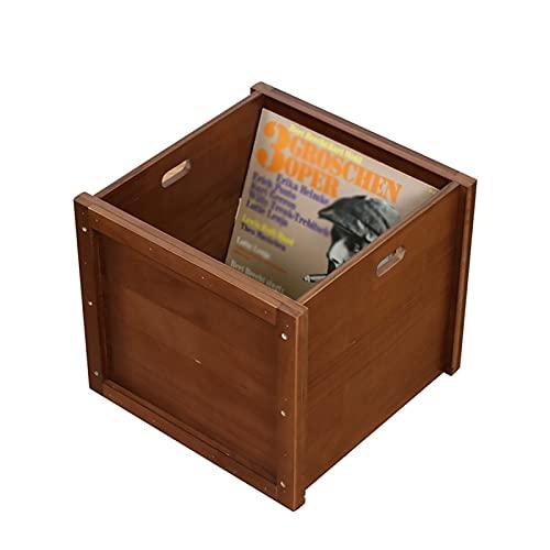 Nai-storage Caja Almacenamiento Discos Vinilo LP Madera Maciza, Álbum Música Capacidad Revistas Estante Almacenamiento Escritorio, Soporte CD/DVD Oficina Casa (Color : Brown)