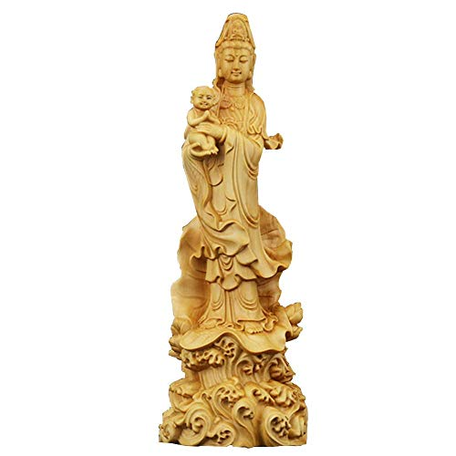 Dpliu Figurilla Estatua de Boxwood guan Yin con niño de pie en la Escultura de Loto, expresión de compasión, Diosa de la Misericordia Kuan Yin decoración Regalo, Madera (Color : Wood)