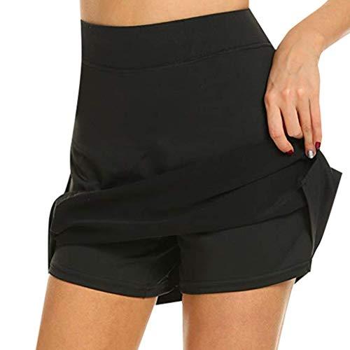 Riou Rock Damen mit Hose Sommer Kurz Active Athletic Skort Leichter Tennisrock mit Innenhose Hosenrock für Damen Sportrock (M, Schwarz)