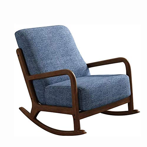DSHUJC Silla Mecedora, sofá Individual para el Ocio en el hogar, Silla de Ocio para Adultos, balcón nórdico de Madera Maciza para Personas, sillón para la Siesta, Sill