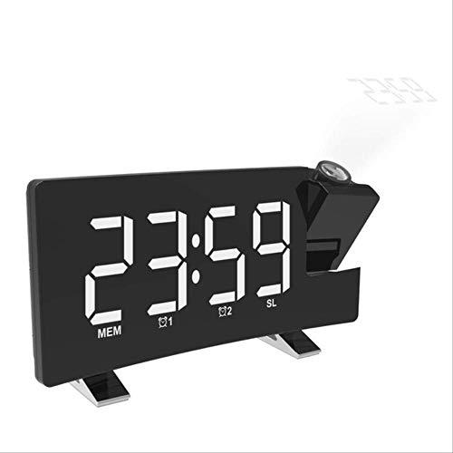 ninguno Radio Reloj Despertador FM con Hora Temperatura de proyección Reloj de Mesa electrónico Reloj de Noche Reloj de proyector Nixie Talla única B Blanco