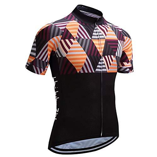 Maillot Ciclismo Hombre - Manga Corta Geometría Colorida Ciclismo De Carreras Tops Montar Camisa Ropa De Bicicleta con Verano Seco Rápido para Ciclismo De Montaña De Carretera Y Ropa Deportiva,S