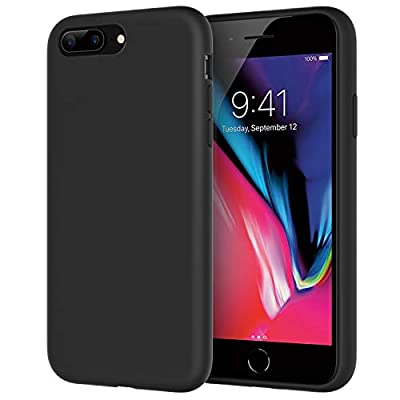 JETech Silicone Case for iPhone 7 Plus, iPhone 8 Plus, 5.5 Inch, Silky-Soft Touch Full-Body Protective Case, Shockproof Cover with Microfiber Lining, Black