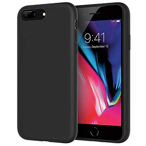 JETech Funda de Silicona Compatible iPhone 7 Plus, iPhone 8 Plus, 5,5', Sedoso-Tacto Suave, Cubierta a Prueba de Golpes con Forro de Microfibra, Negro
