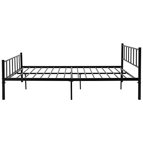 WGYDREAM Double Bed Black Metal Bed Frame 4ft6 Children Bedroom Bedstead Base With Vintage Headboard And Footboard For 135 * 190 CM Mattress