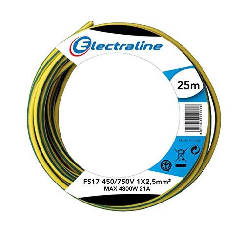 Electraline 13172 - Cable unipolar FS17, sección 1 x 2,5 mm², amarillo/verde, 25 m